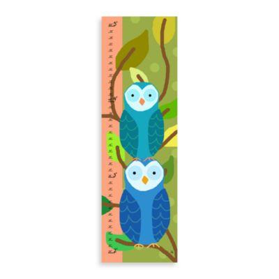 Green Leaf Art Blue Owls Growth Chart