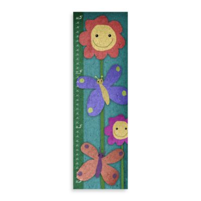 Green Leaf Art Butterflies Happy Day Growth Chart