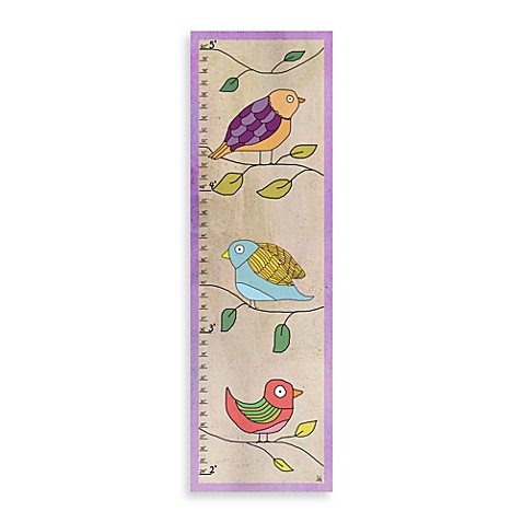 Green Leaf Art Soft Birds Growth Chart