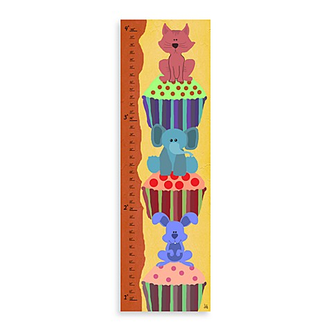 Green Leaf Art Cupcake Animals Growth Chart