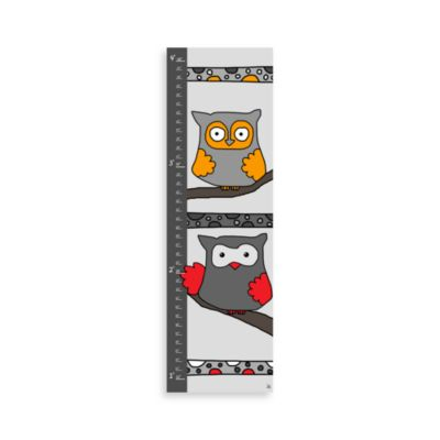 Green Leaf Art Grey Owls Growth Chart