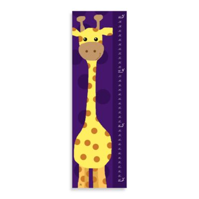 Green Leaf Art Giraffe on Purple Growth Chart