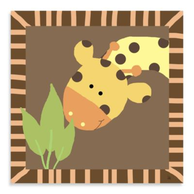 Green Leaf Art Baby Giraffe Canvas Art