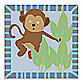 Green Leaf Art Baby Monkey Canvas Art
