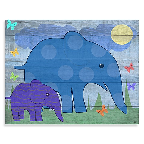 Green Leaf Art Elephants on Wood Canvas Art