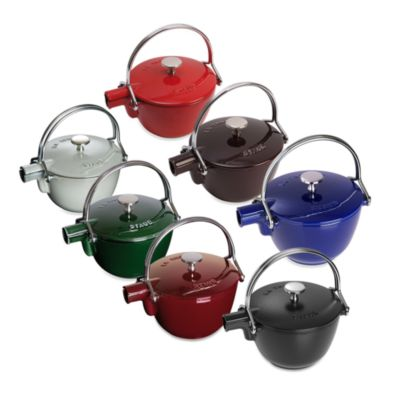 Staub Round Cast Iron 1-Quart Teapot/Kettle in Dark Red