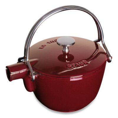 Staub Round Cast Iron 1-Quart Teapot/Kettle in Dark Red