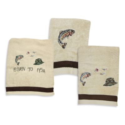 Bath Towels with Trout