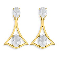 Badgley Mischka® Petal Perfect White Topaz Graduated Oval Drop Earrings