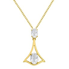 Badgley Mischka® Petal Perfect White Topaz Graduated Oval Pendant