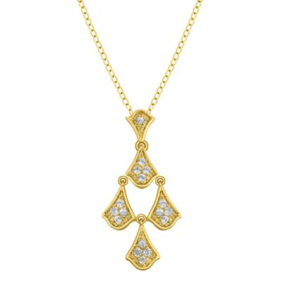 Badgley Mischka® Petal Perfect White Topaz Pendant w/Chain in Yellow Gold-Plated Sterling Silver