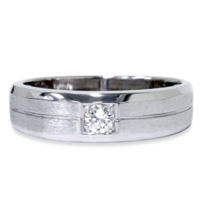 14K White Gold Men's .17 cttw Diamond Size 10 Brushed Ring