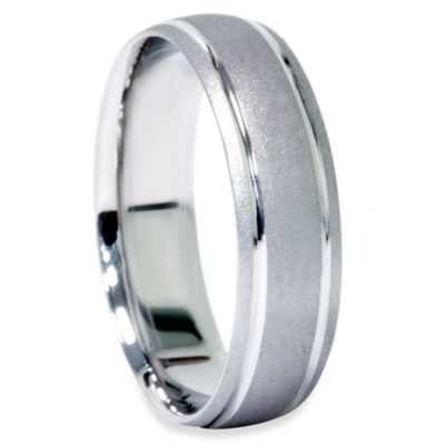 Men's 10K White Gold 6MM Size 8 Brushed Band w/Double Inlay
