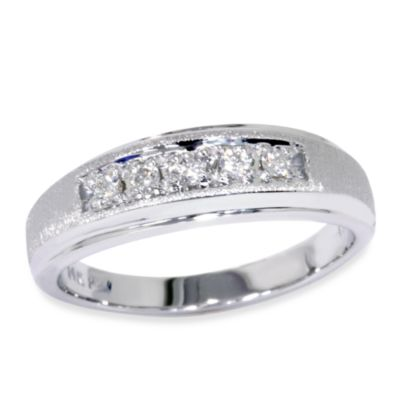 14K White Gold .15 cttw Diamond Men's Brushed Ring