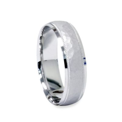 Men's Platinum Hammered Band