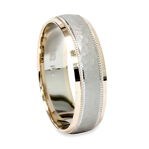 14K White and Yellow Gold Hammered Men's Band