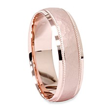 14K Rose Gold Hammered Men's Band