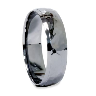 14K White Gold Hammered Black Men's Band