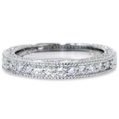 14K White Gold, 0.25 cttw Diamond Vintage Antique Engraved Ring