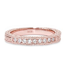 14K Rose Gold Vintage 1/4 cttw Diamond Antique Engraved Ring
