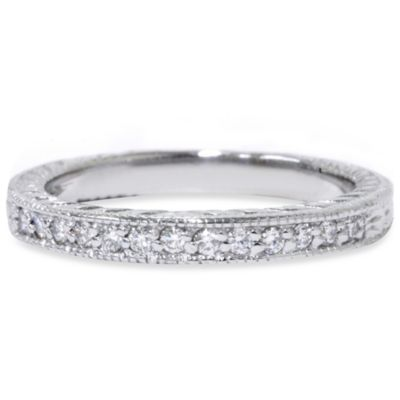 14K White Gold Vintage .17 cttw Diamond Ring