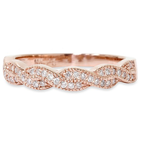 14K Rose Gold Infinity 1/5 cttw Diamond Anniversary Ring