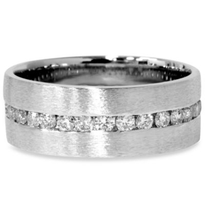 14K White Gold Diamond Eternity Brushed Channel 1.2 cttw Size 9 Ring