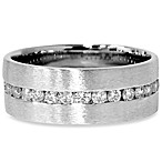 14K White Gold 1.2 cttw Diamond Eternity Brushed Channel Ring