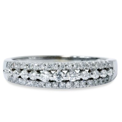 14K White Gold .33 cttw Diamond Anniversary Size 5 Ring