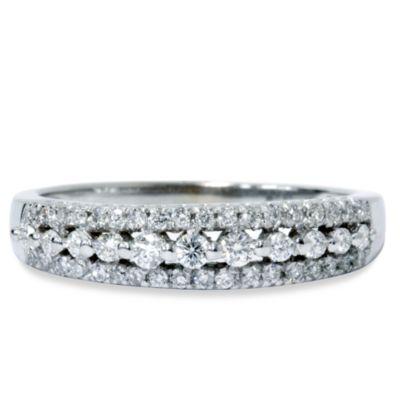 14K White Gold .33 cttw Diamond Anniversary Size 7 Ring