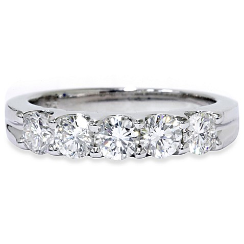 14K White Gold 1 cttw Diamond U-Shape Anniversary Ring