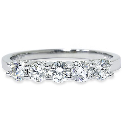 14K White Gold Five-Stone 3/4 cttw Diamond Anniversary Ring