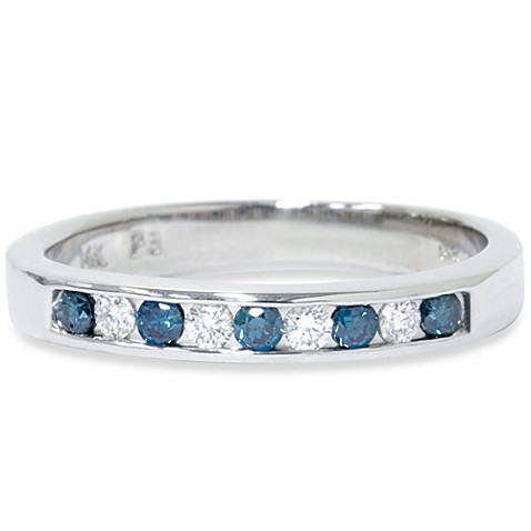 14K White Gold Channel Set  1/4 cttw Diamond Ring in Blue/White