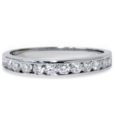 14K White Gold Channel Set .5 cttw Diamond Ring Size 4