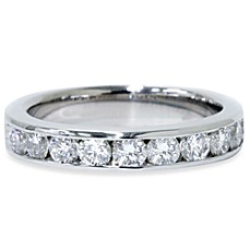14K White Gold Channel Set 1 cttw Diamond Anniversary Ring