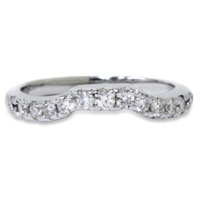 14K White Gold Notched Diamond Size 8 Ring Enhancer (.38 cttw, SI1-SI2 Clarity, H-I Color)