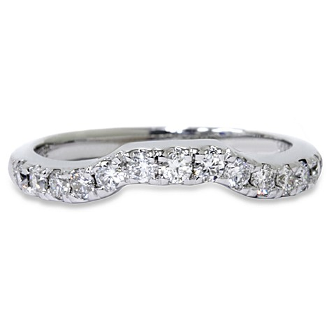 14K White Gold Notched .38 cttw Diamond Ring Enhancer