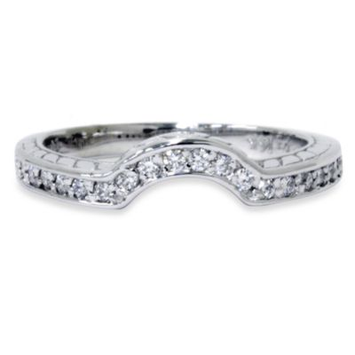14K White Gold Hand-Engraved Curved Ring Enhancer