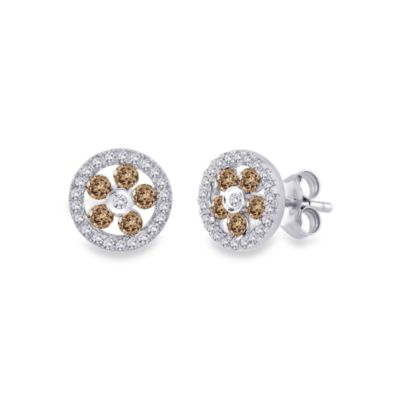 10K White Gold 5/8 cttw White and Brown Diamond Earrings