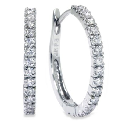 14K White Gold .50 cttw Diamond 3/4-Inch Hoops