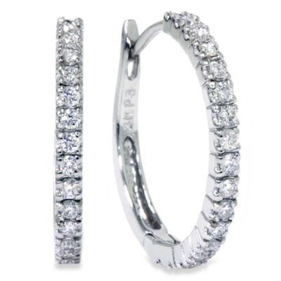 14K White Gold .50 cttw Diamond 3/4-Inch Hoops