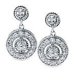 White Gold .50 cttw Diamond Drop Dangle Circle-in-Circle Earrings
