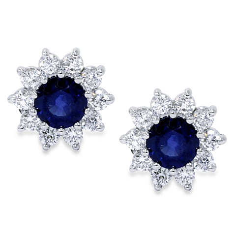 14K White Gold 1.15 cttw Blue Sapphire and .60 cttw Diamond Earrings