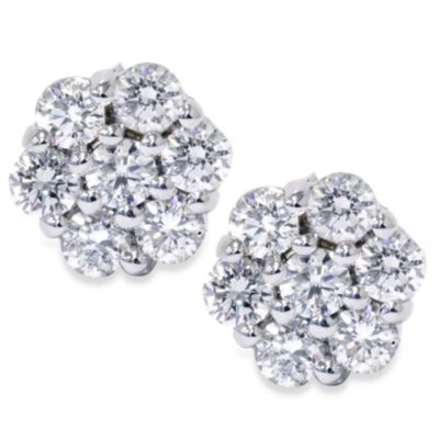 14K 1.00 Cttw White Stud Earrings