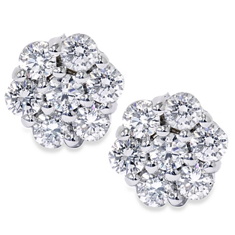 14K White Gold 1.00 cttw Diamond Stud Earrings