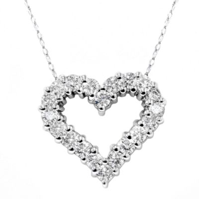 14K White Gold 1/2 cttw Diamond Heart Pendant w/Chain