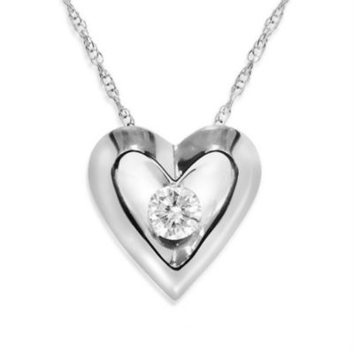 14K White Gold 1/5 cttw Diamond Solitaire Heart Pendant w/Chain