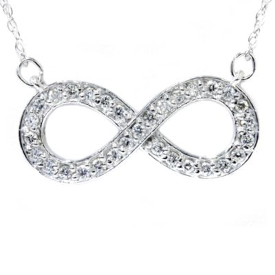 14K White Gold 1/3 cttw Diamond Infinity Pendant w/Chain