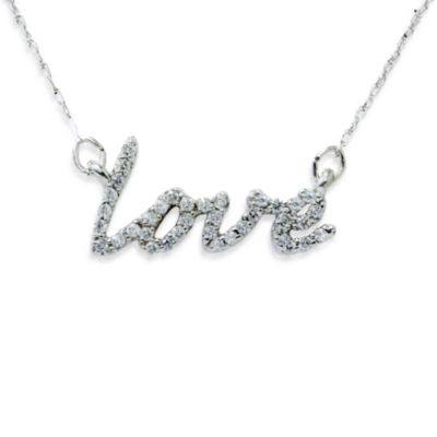 14K White Gold 1/5 cttw Diamond Love Pendant w/Chain