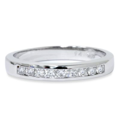 14K White Gold 1/4 cttw Diamond Channel Set Anniversary Size 8 Ring